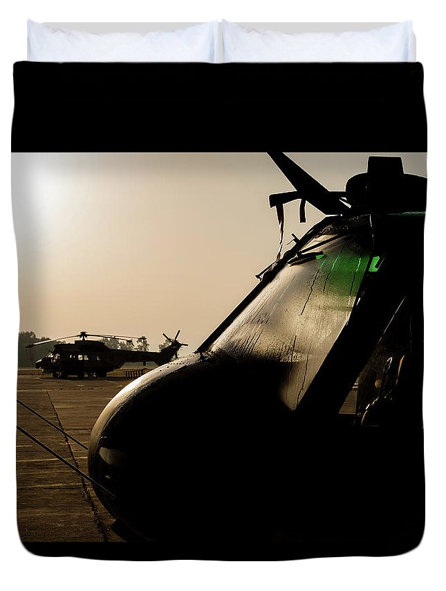 Greece Duvet Cover featuring the photograph Silhouette Of Hellenic Air Force Search by Timm Ziegenthaler