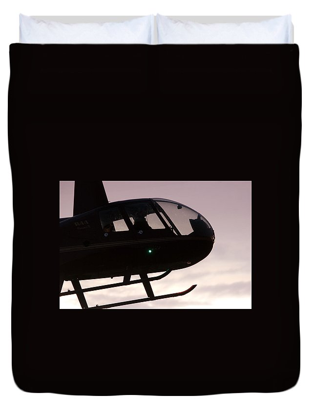 Robinson R44 Raven Ii Duvet Cover featuring the photograph Silhouette Raven II by Paul Job