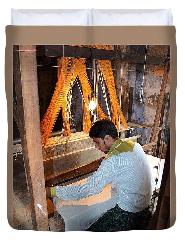 Silk Duvet Cover featuring the photograph Silk Weaver - Varanasi India by Kim Bemis