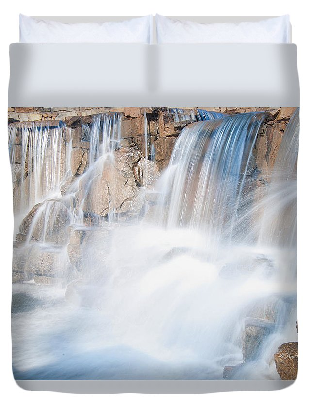 Feature Art Duvet Cover featuring the photograph Silky Waterfall Splash by Paulette B Wright