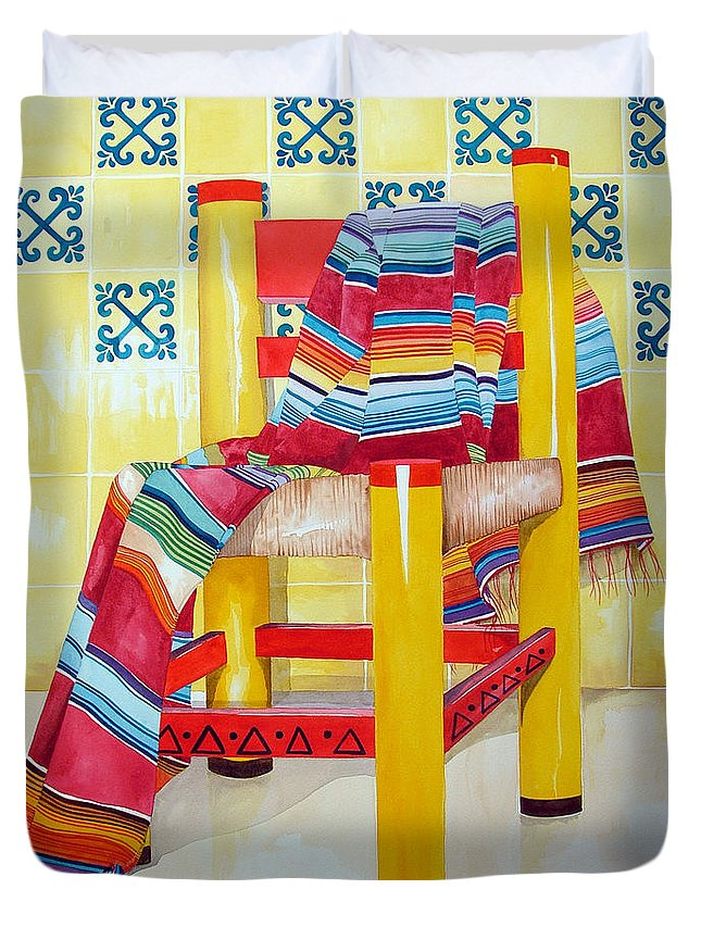 Still Life Painting Duvet Cover featuring the painting Silla De La Cocina--kitchen Chair by Kandyce Waltensperger
