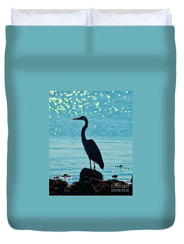 Heron Duvet Cover featuring the photograph Silhouette by Stephen Whalen