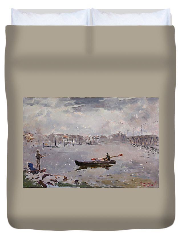 Virginia Beach Duvet Cover featuring the painting Silver Breeze Va by Ylli Haruni