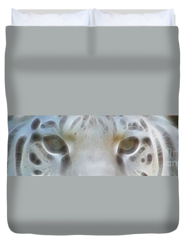 Tiger Duvet Cover featuring the photograph Silver Eyes 7943-fractal by Gary Gingrich Galleries