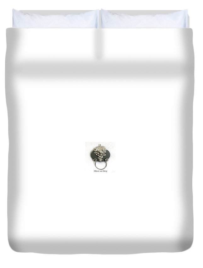 Magnetic Eyeglass Holder Duvet Cover featuring the jewelry Silver Grapes On Grey by Laura Wilson