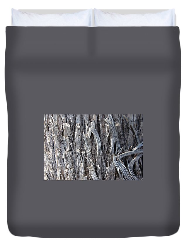 Silver Wire Heavy Strands Broken Ends Abstract Decorative Tree Bark Nature Duvet Cover featuring the photograph Silver Heavy Metal by Linda Brody