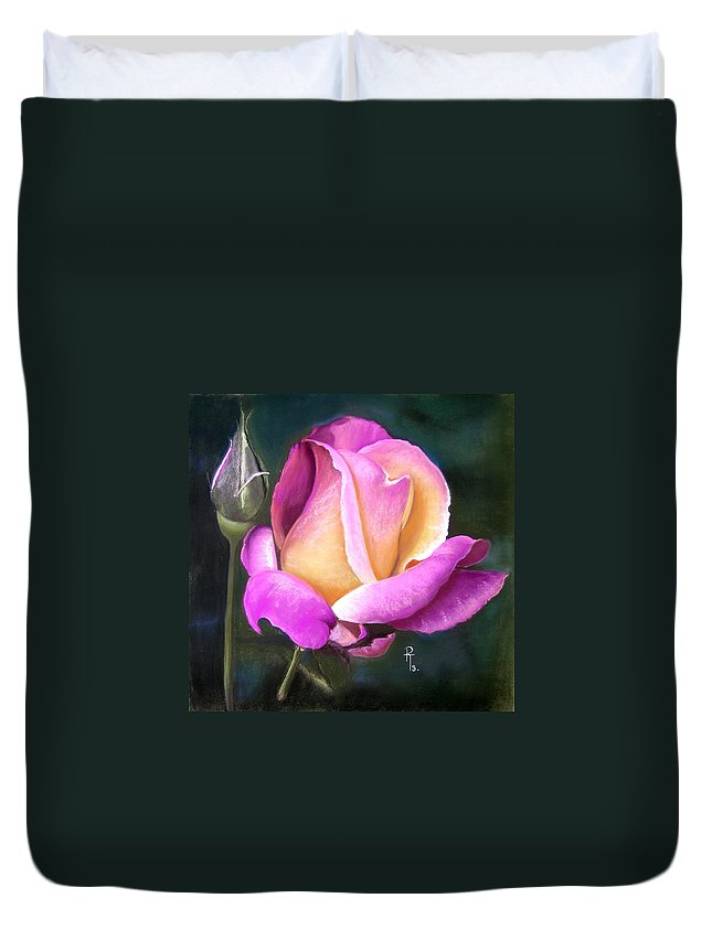 Flower Duvet Cover featuring the pastel Silver Jubilee by Rosemarie Temple-Smith