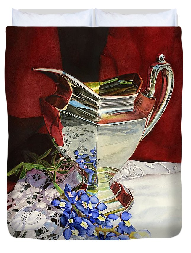 Silver Pitcher Duvet Cover featuring the painting Silver Pitcher And Bluebonnet by Hailey E Herrera