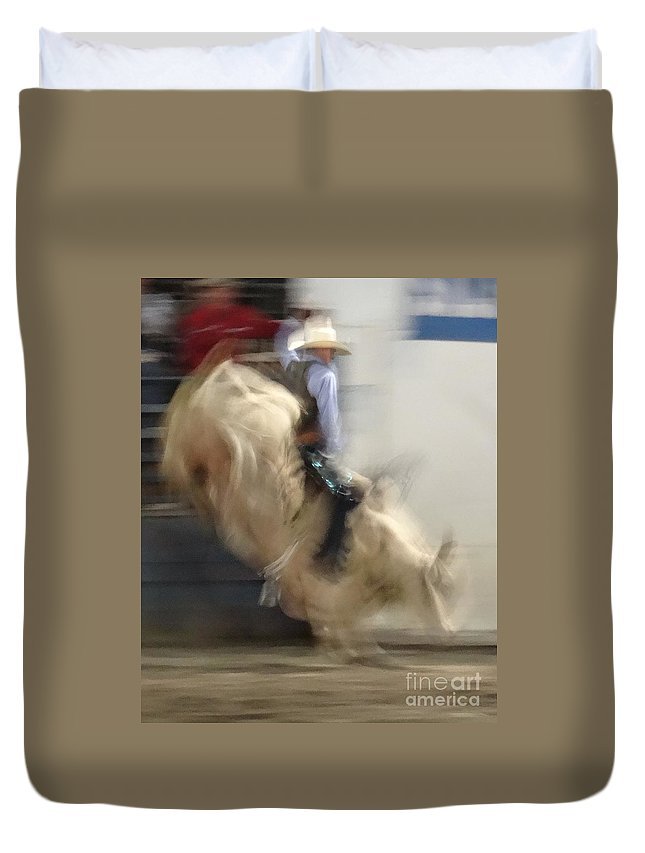 Bull Riding Duvet Cover featuring the photograph Silver State Stampede 2014 Bull Rider by Christopher Plummer