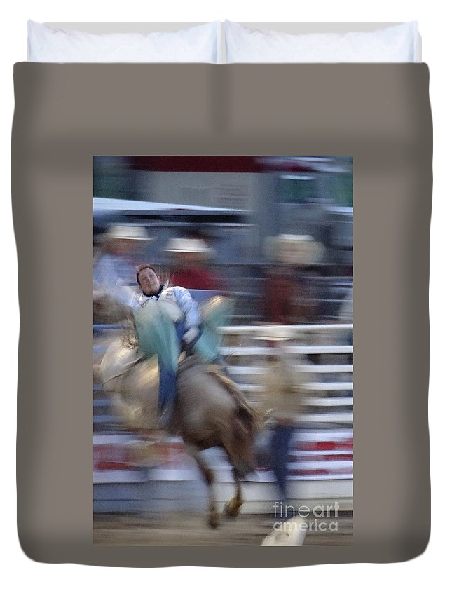 Bronc Riding Duvet Cover featuring the photograph Silver State Stampede 2014 Happy Bronc Rider by Christopher Plummer
