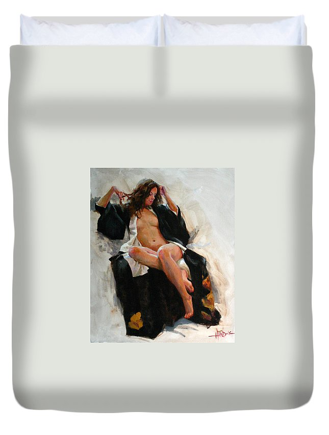 Figure Duvet Cover featuring the painting Silvia by Scott Harding