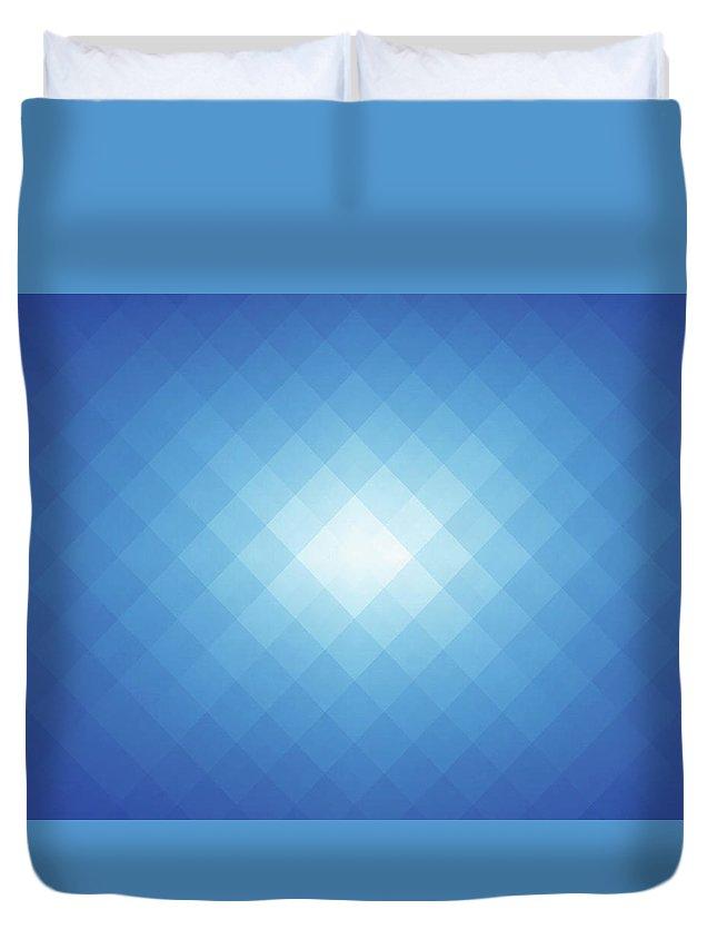 Empty Duvet Cover featuring the digital art Simple Blue Pixels Background by Simon2579