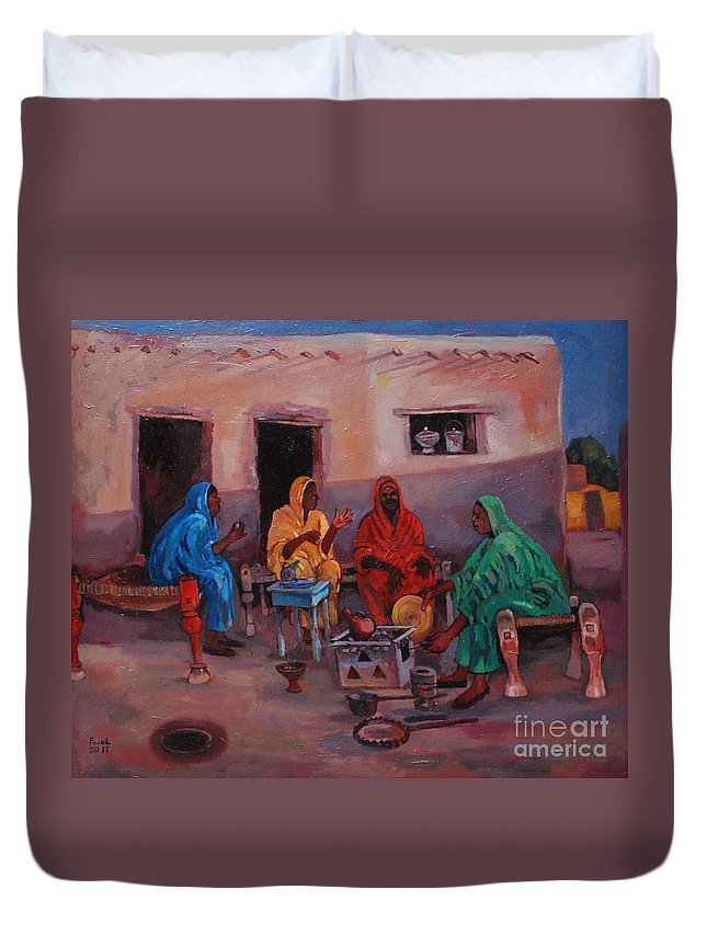 As Sudanese Simple Local Arts Duvet Cover featuring the painting Simple Local Arts by Mohamed Fadul