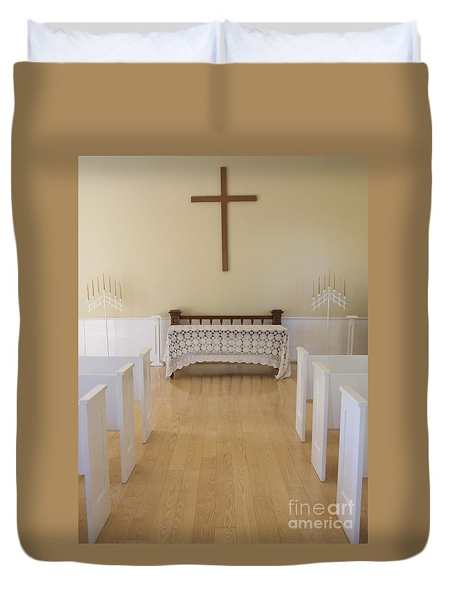 Chapel Duvet Cover featuring the photograph Simple Sunlit Chapel by Ann Horn