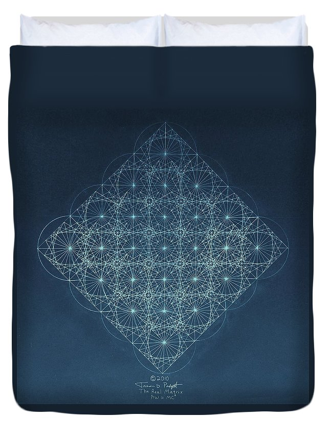 Fractal Duvet Cover featuring the drawing Sine Cosine and Tangent Waves by Jason Padgett