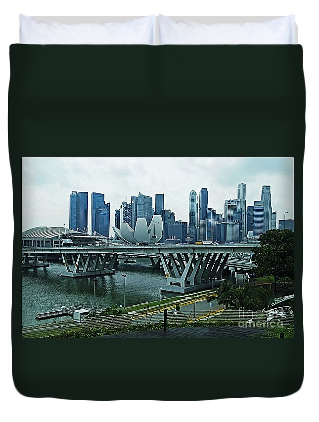 Singapore Duvet Cover featuring the photograph Singapore 14 by Ben Yassa