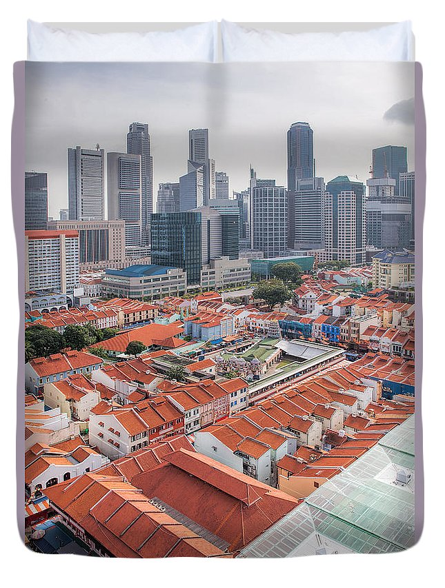 Singapore Duvet Cover featuring the photograph Singapore Chinatown With Modern Skyline by Jit Lim