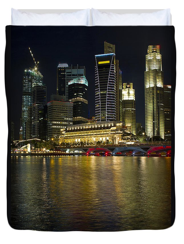 Singapore Duvet Cover featuring the photograph Singapore City Skyline At Night by David Gn