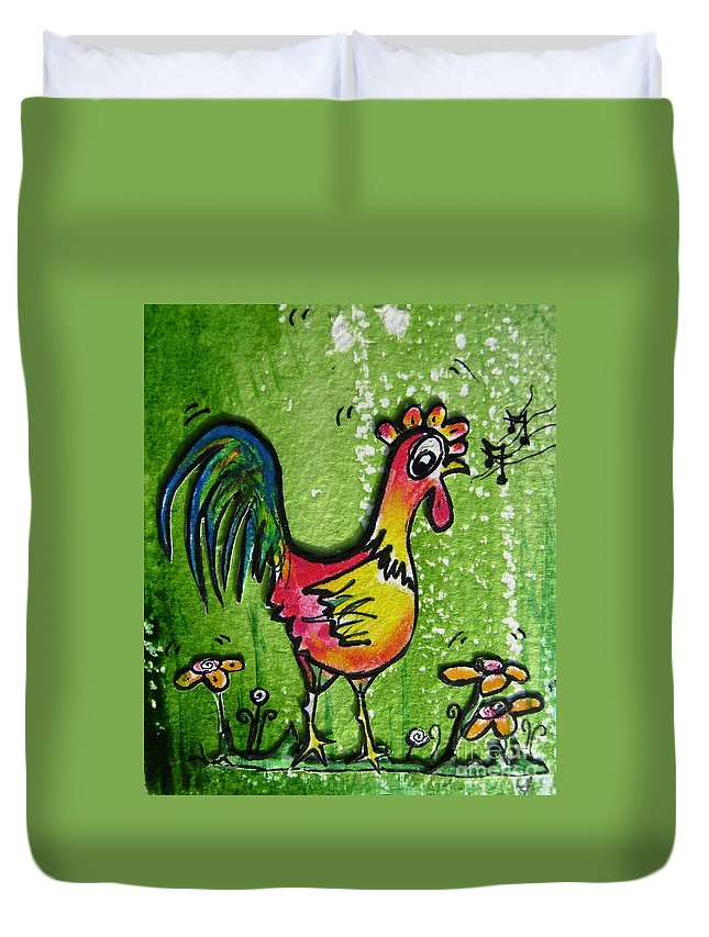 Chicken Duvet Cover featuring the mixed media Singing Chicken by Mary Cahalan Lee- aka PIXI