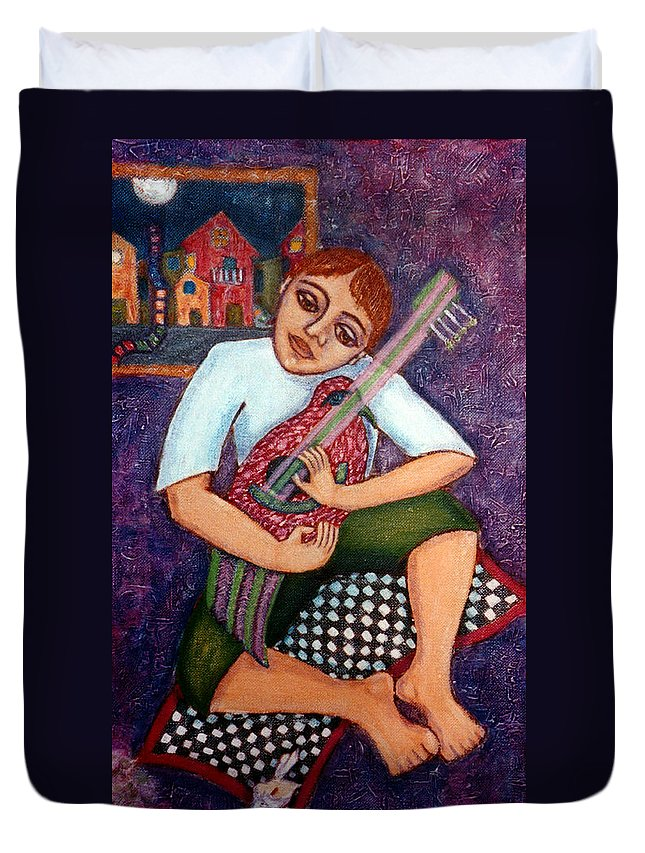 Children Duvet Cover featuring the painting Singing Dreams by Madalena Lobao-Tello