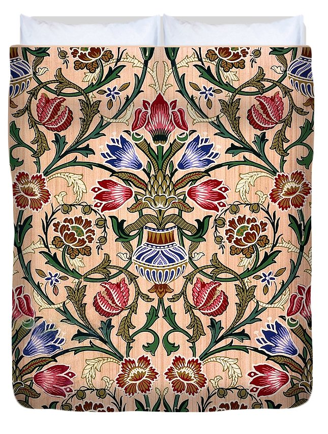 Singe Stem Duvet Cover featuring the drawing Single Stem Wallpaper Design, 1905 by John Henry Dearle