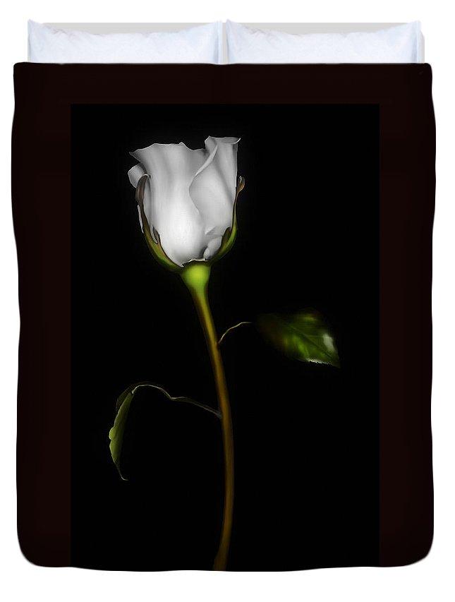 Rose Duvet Cover featuring the digital art Single White Rose by Georgiana Romanovna