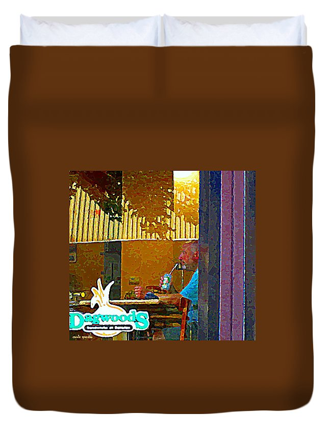 Duvet Cover featuring the painting Sipping A Seven Up At Dagwoods Window Seat At The Sandwich Shop Montreal Summer Scene Carole Spandau by Carole Spandau