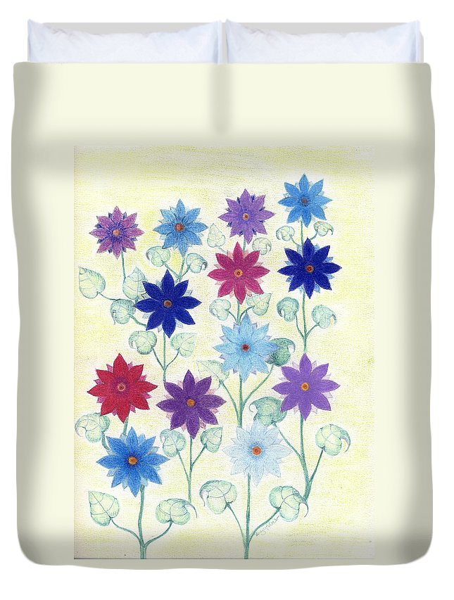Flowers Duvet Cover featuring the drawing Sister Bloom by Greg Roberson