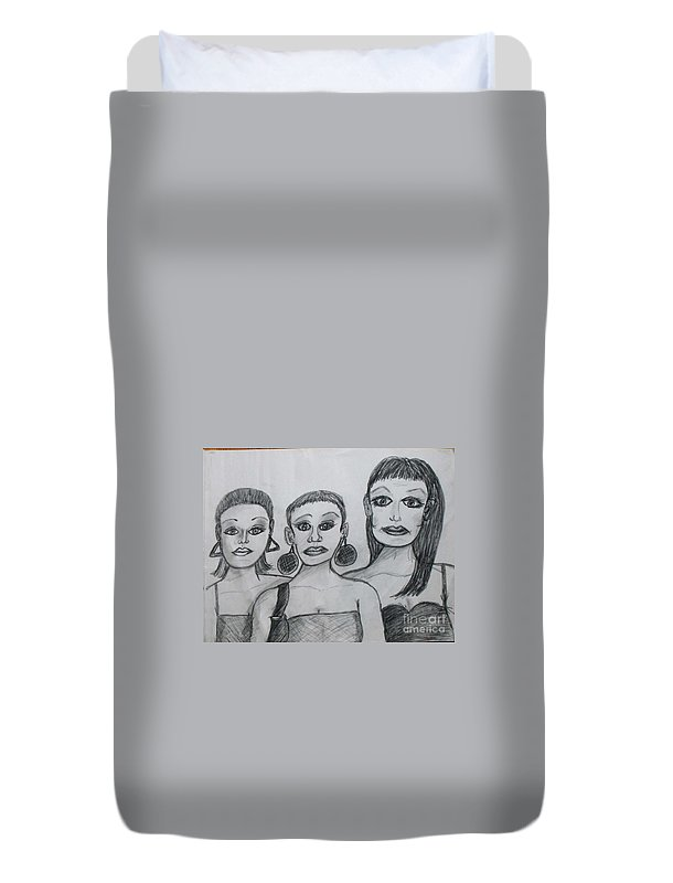 Sisters Duvet Cover featuring the drawing Sisters And Brother by Catherine Ratliff