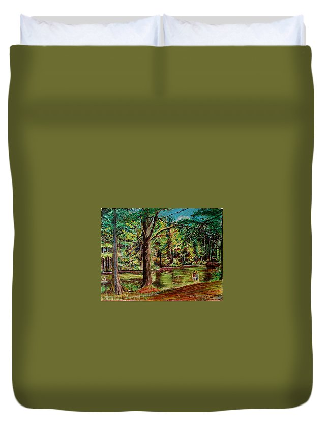 New Hampshire Duvet Cover featuring the pastel Sisters At Wason Pond by Sean Connolly