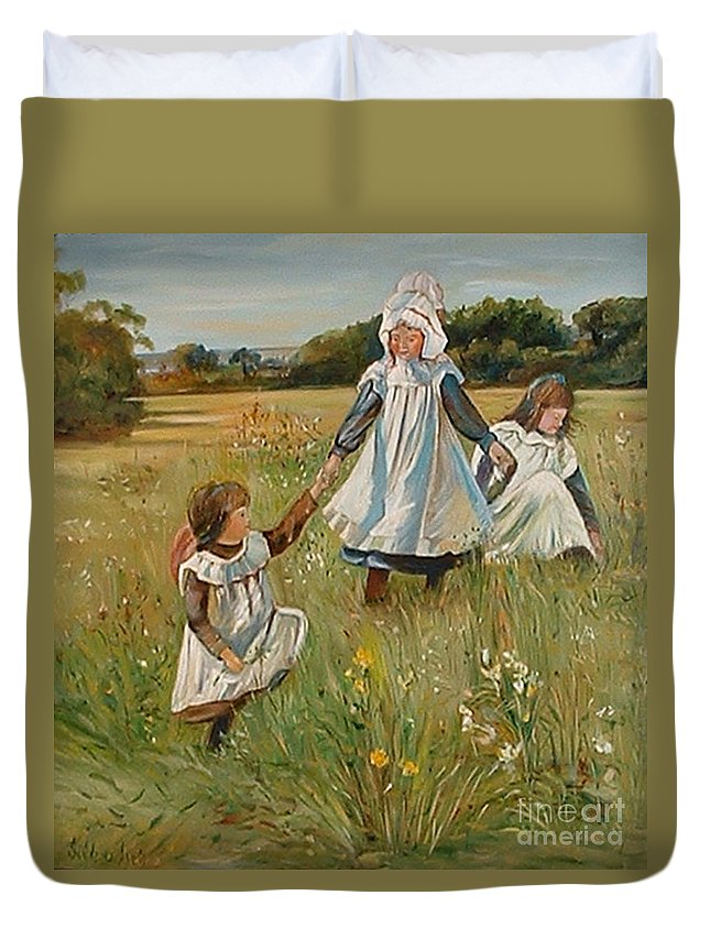Classic Art Duvet Cover featuring the painting Sisters by Silvana Abel