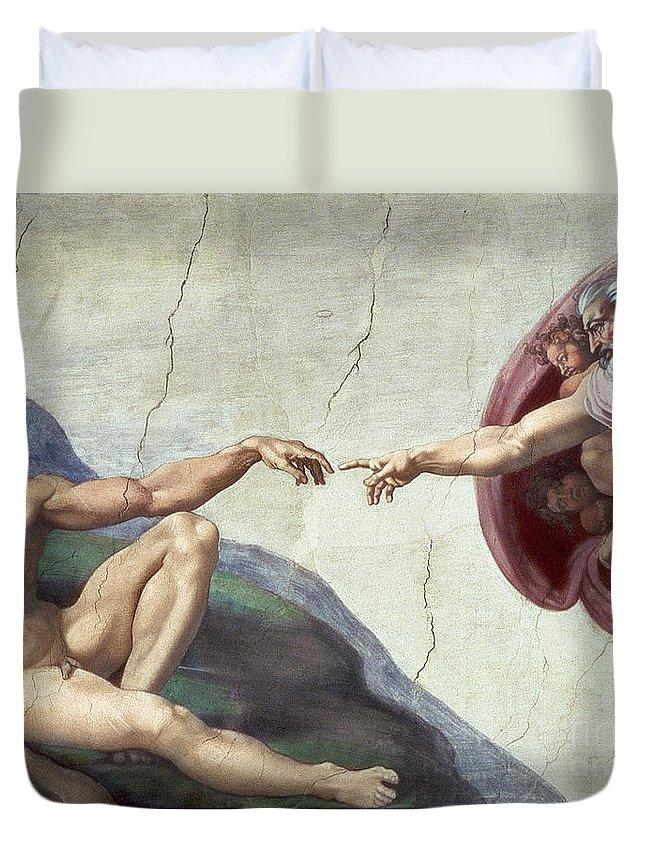 Renaissance Duvet Cover featuring the painting Sistine Chapel Ceiling by Michelangelo Buonarroti
