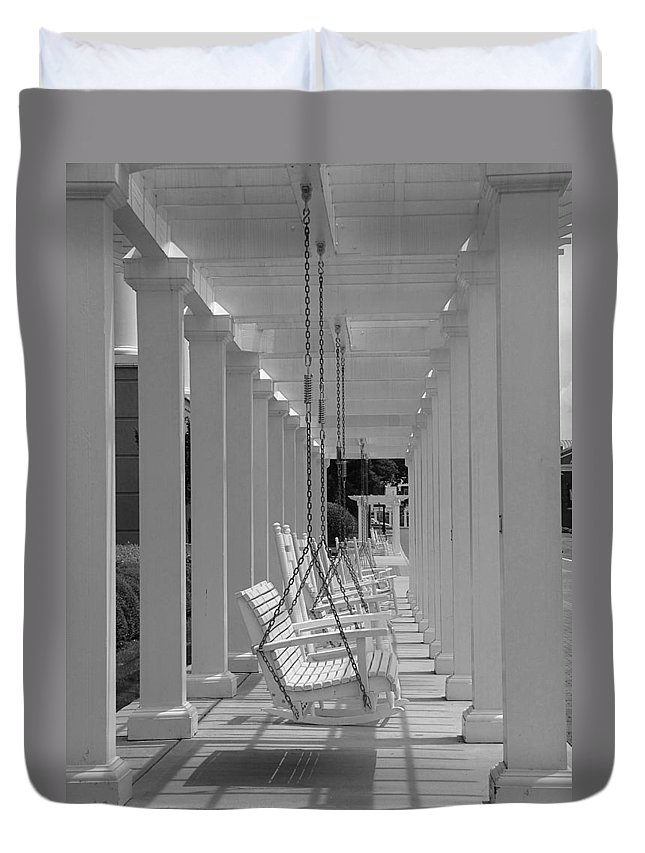 Swings Duvet Cover featuring the photograph Sit A Spell by Greg Simmons