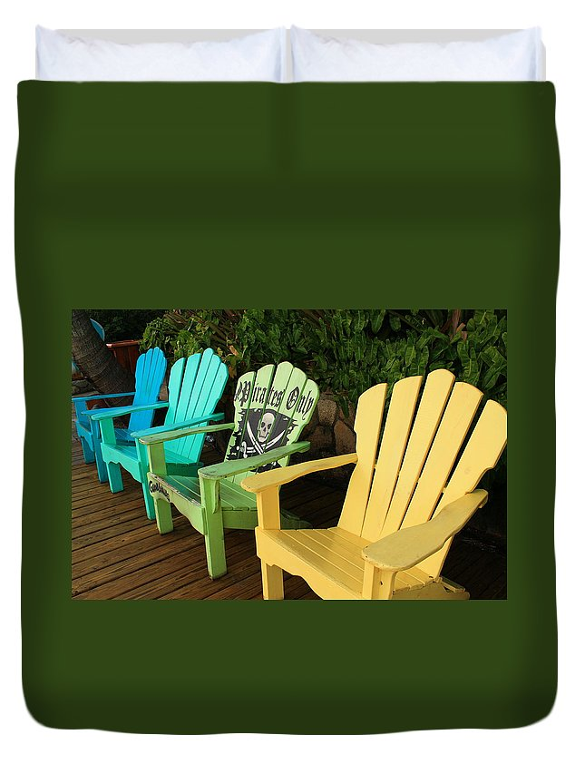 Beach Chairs Duvet Cover featuring the photograph Sit At Your Own Risk by Catie Canetti