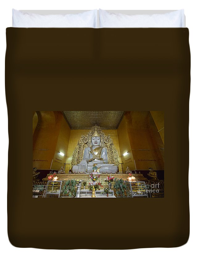 Marble Duvet Cover featuring the photograph sitting Buddha made from one single marble block in KYAUKTAWGYI PAGODA by Juergen Ritterbach