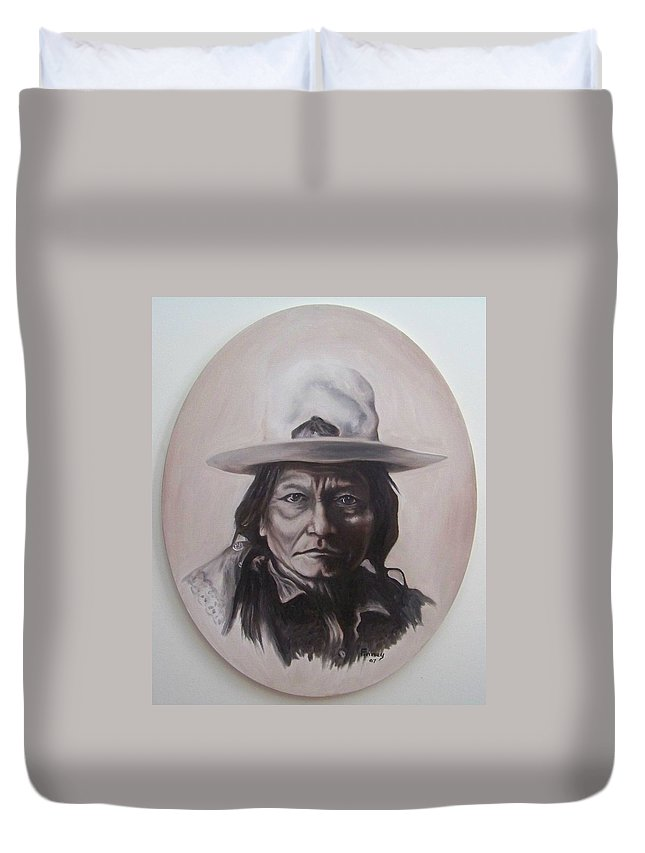 Michael Duvet Cover featuring the painting Sitting Bull by Michael TMAD Finney