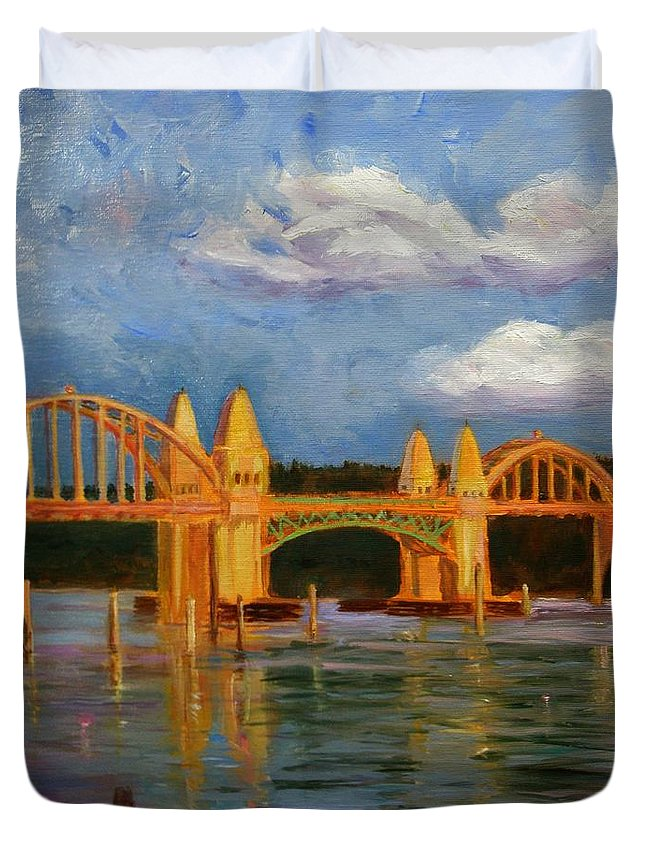 Siuslaw Duvet Cover featuring the painting Siuslaw River Bridge by Liz Snyder