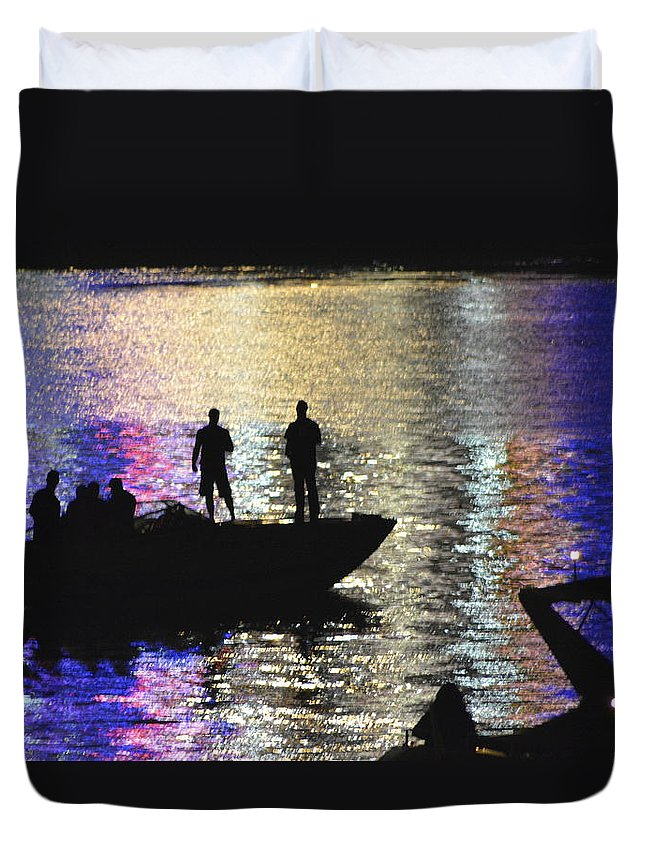 Fireworks Duvet Cover featuring the photograph Six On A Boat by Kathy Barney