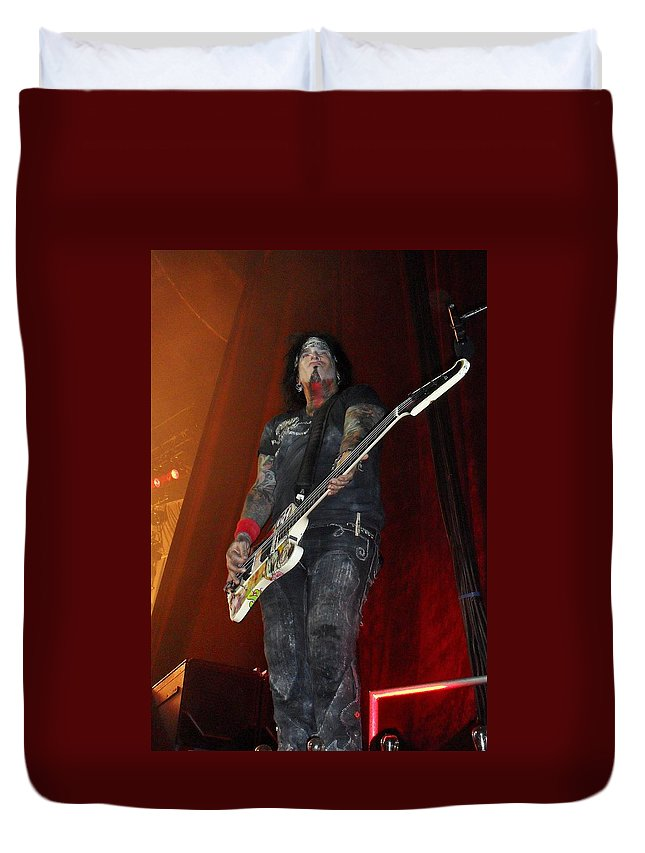 Motley Crue Duvet Cover featuring the photograph Sixx by Sheryl Chapman Photography