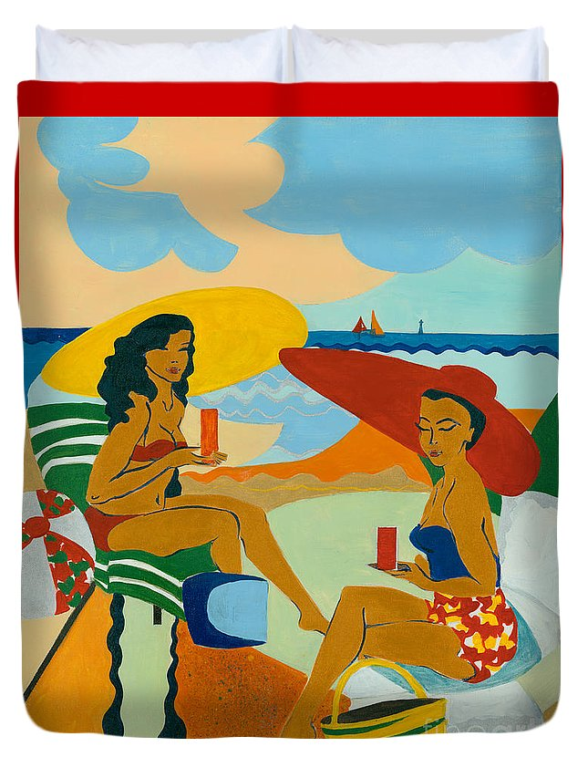 Summer Duvet Cover featuring the painting Sizzling Summer by Elisabeta Hermann