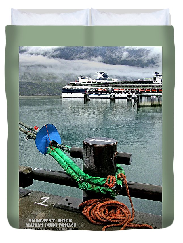 Skagway Duvet Cover featuring the photograph Skagway Dock by Michael Moore