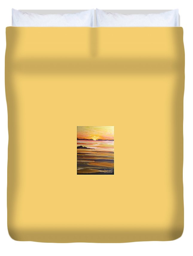Skaket Beach Sunset Duvet Cover featuring the painting Skaket Beach by Jacqui Hawk