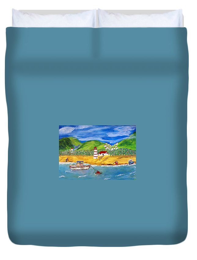 Acrylic On Canvas Duvet Cover featuring the painting Skala Kalloni by Aat Kuijpers
