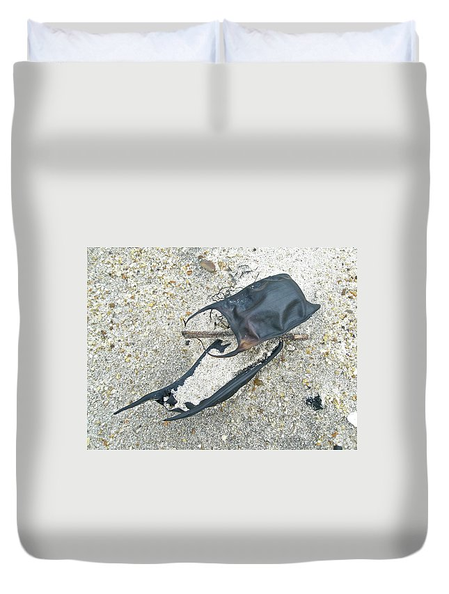 Ocean Duvet Cover featuring the photograph Skate Egg Cases On Sand by Mother Nature