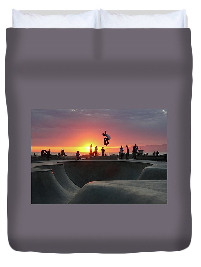 Expertise Duvet Cover featuring the photograph Skateboarding At Venice Beach by Mgs