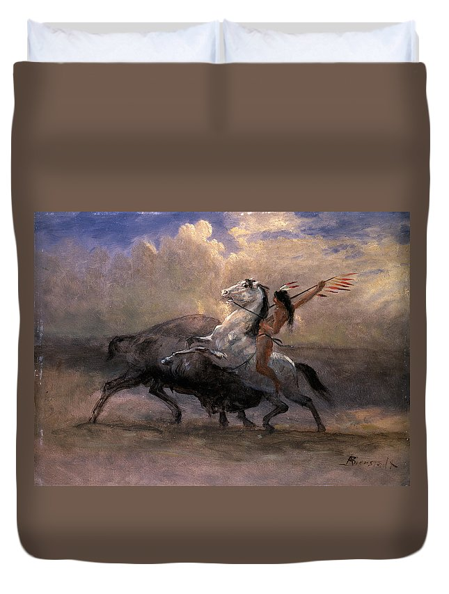 Albert Bierstadt Duvet Cover featuring the painting Sketch For The Last Of The Buffalo by Albert Bierstadt