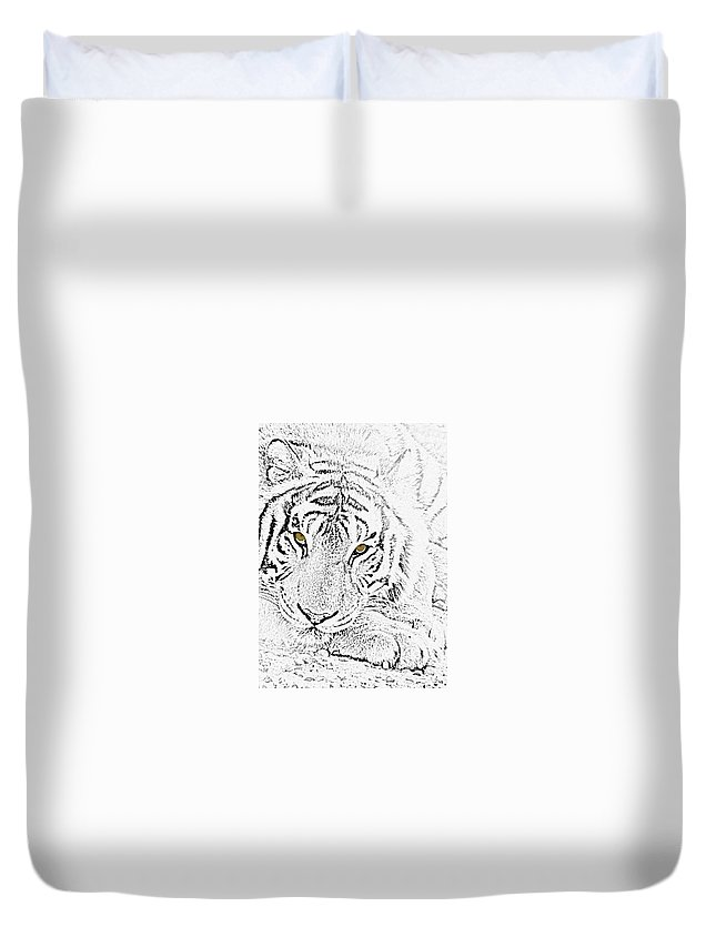 Tiger Duvet Cover featuring the photograph Sketch With Golden Eyes by Crystal Heitzman Renskers