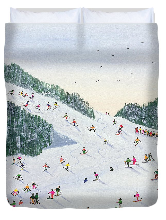 Landscape; Ski School; Naive; Evening; Snow Duvet Cover featuring the painting Ski Vening by Judy Joel