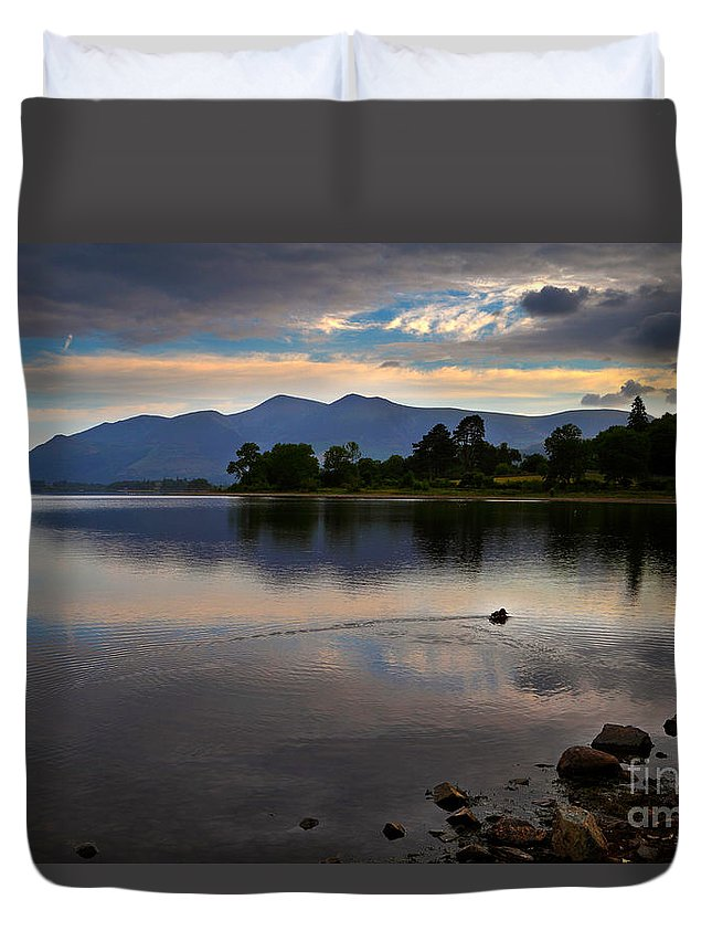 Travel Duvet Cover featuring the photograph Skiddaw And Derwent Water At Dawn by Louise Heusinkveld