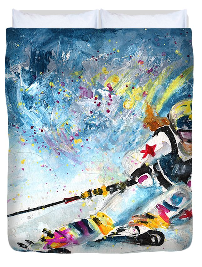 Sports Duvet Cover featuring the painting Skiing 03 by Miki De Goodaboom